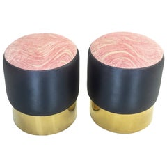 Small Round Ottomans with Gold Finished Base