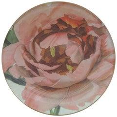 Small Round Pink Peony Decoupage Decorative Coaster