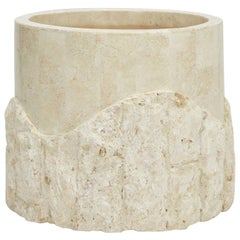 Small Round Postmodern Tessellated Stone Rough and Smooth Planter, 1990s