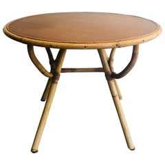 Small Round Rattan Coffee Table with Wooden Top, French, circa 1970
