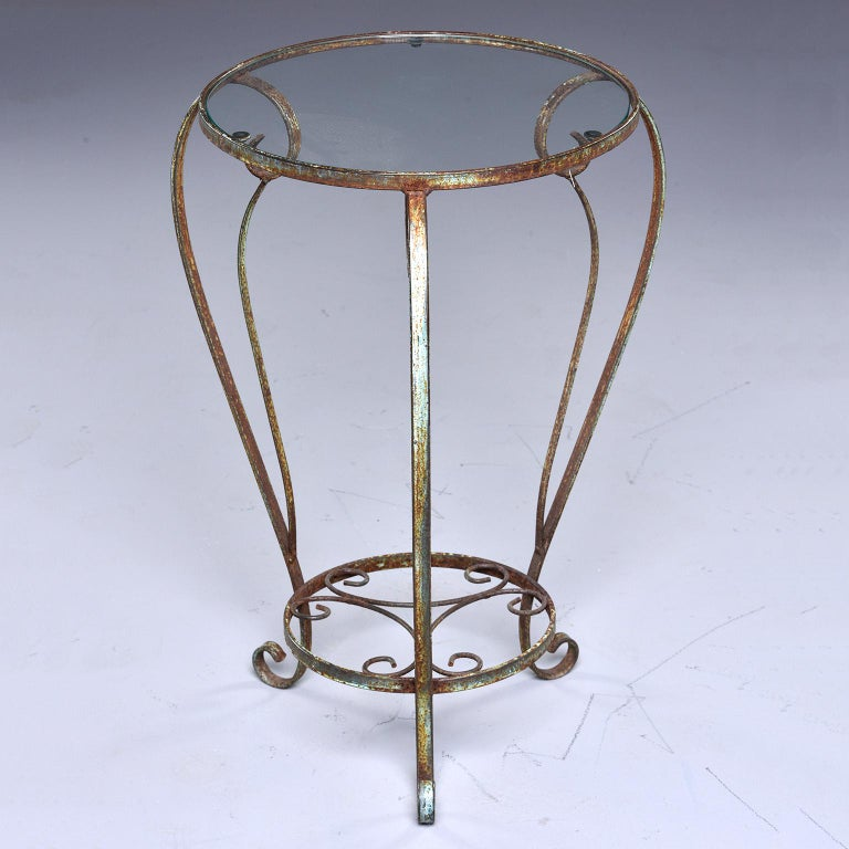 French Small Round Side Table with Iron Frame and Glass Top For Sale