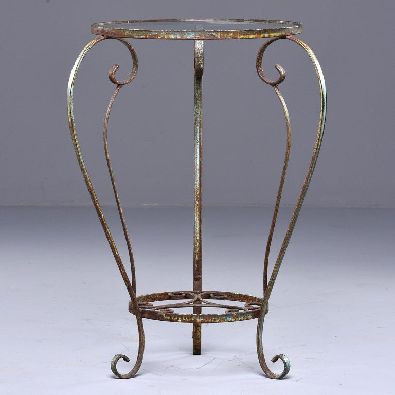Small Round Side Table with Iron Frame and Glass Top In Good Condition For Sale In Troy, MI