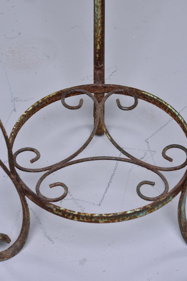Small Round Side Table with Iron Frame and Glass Top For Sale 2