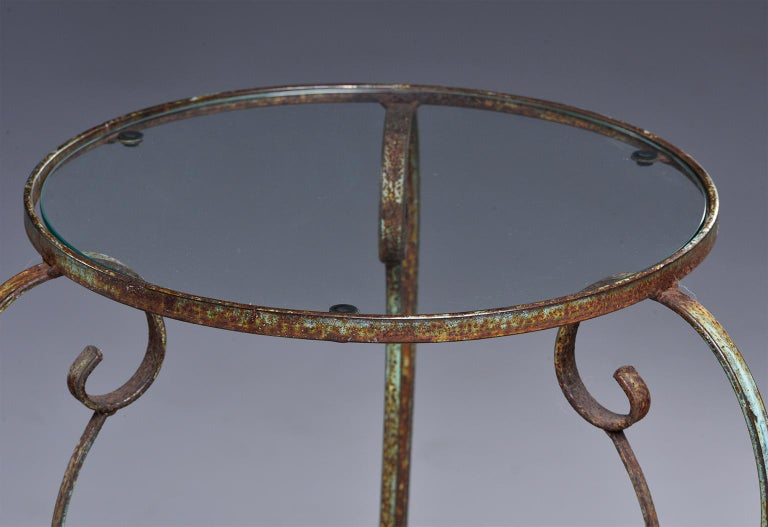 Small Round Side Table with Iron Frame and Glass Top For Sale 3