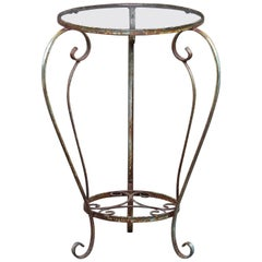 Small Round Side Table with Iron Frame and Glass Top