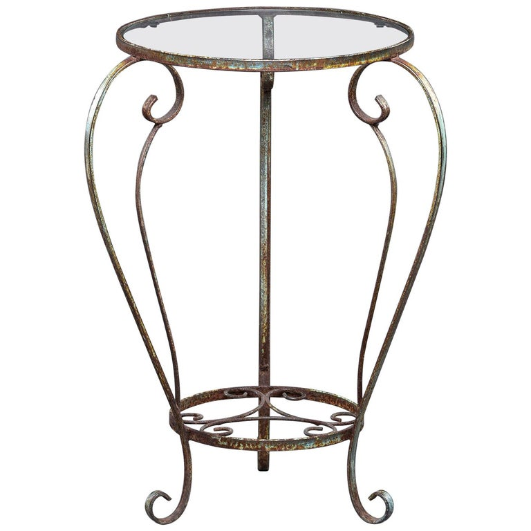 Small Round Side Table With Iron Frame And Glass Top For