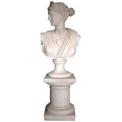 Small Round Square Top Marble Column, 20th Century