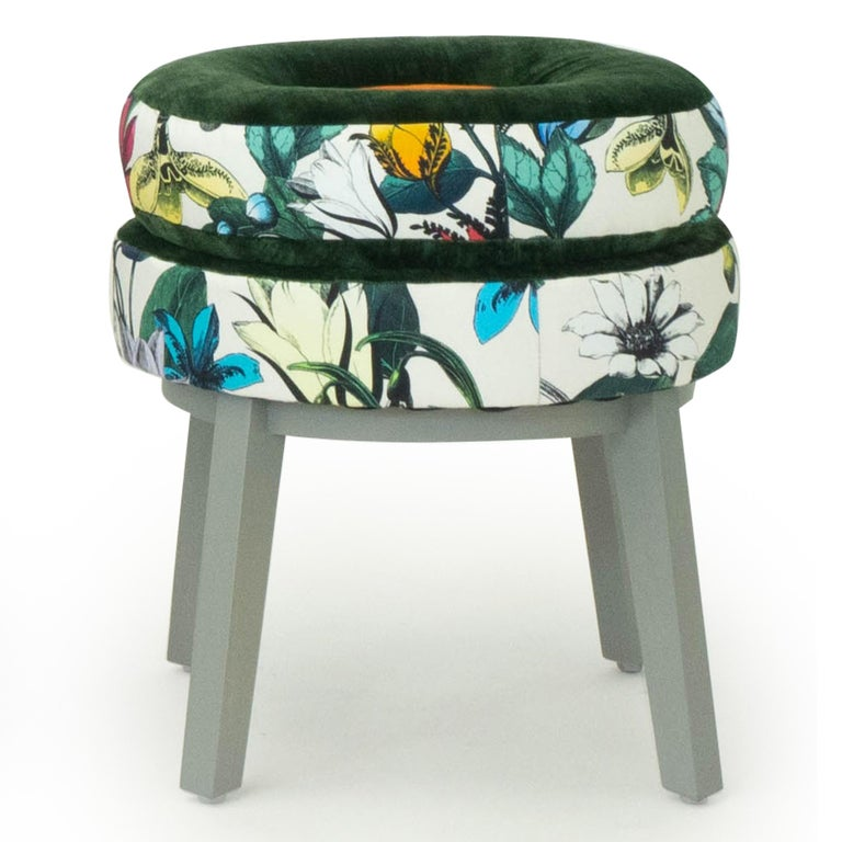 Erfly Fl Patterned Fabric, Small Round Stools