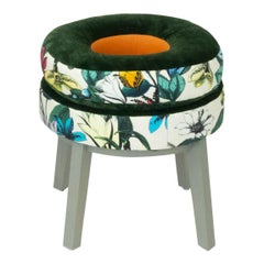 Small Round Stool with Green Velvet and Butterfly Floral Patterned Fabric