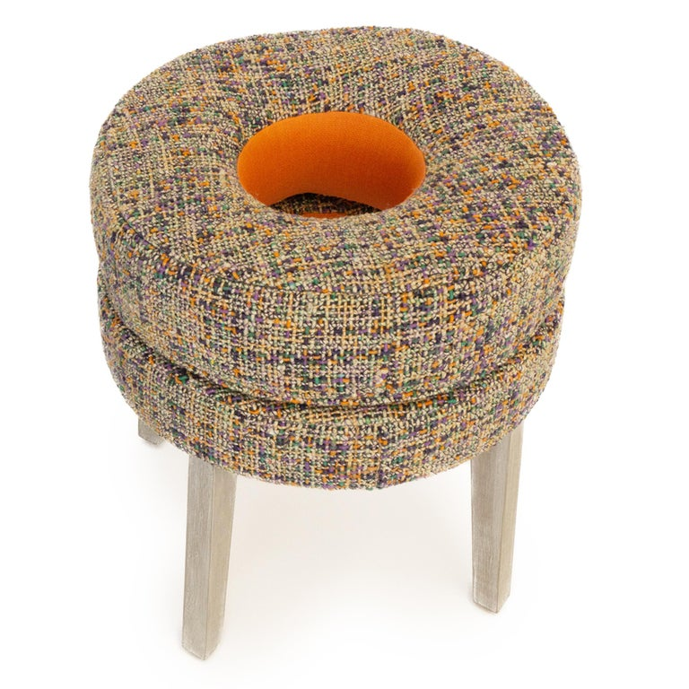 Post-Modern Small Round Stool with Tweed Upholstery & Orange Vinyl Accent For Sale