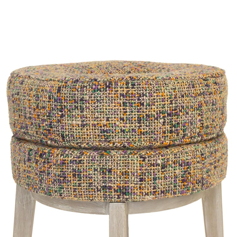 American Small Round Stool with Tweed Upholstery & Orange Vinyl Accent For Sale