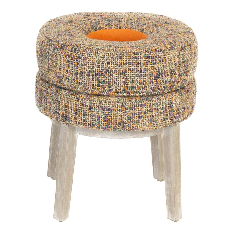 Small Round Stool with Tweed Upholstery & Orange Vinyl Accent For Sale