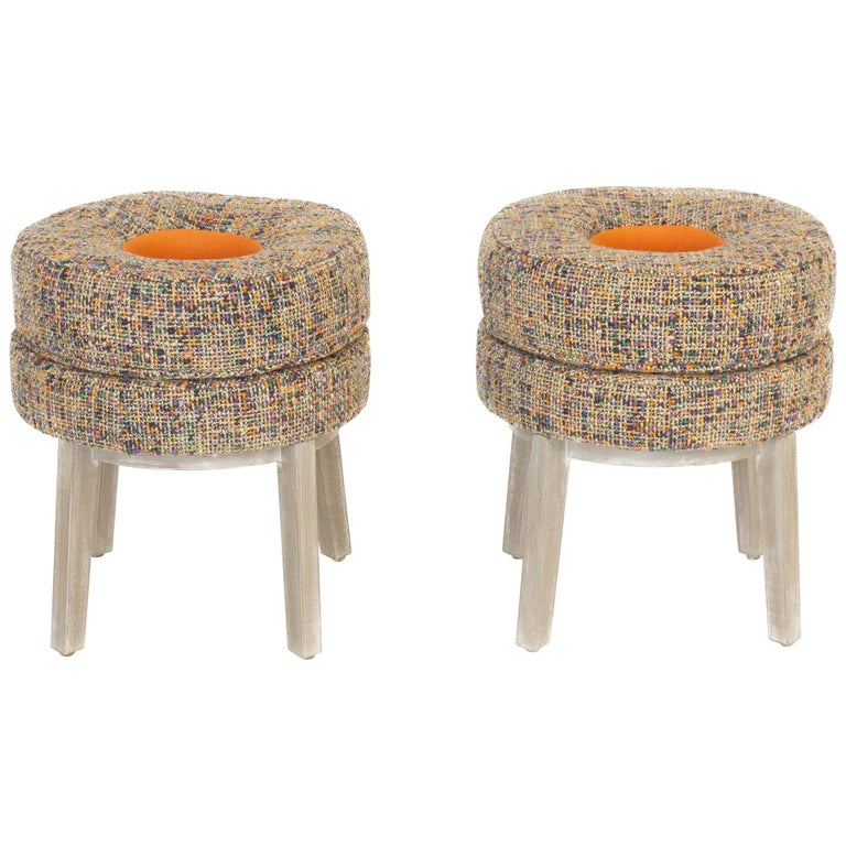 Small Round Stools With Tweed, Small Round Stools