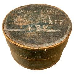Small Round Swedish Original Painted Folk Art Box Dated 1792