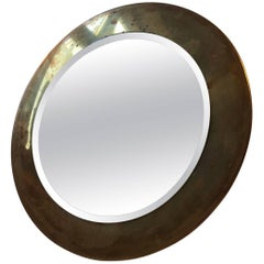 Small Round Vintage Danish Wall Mirror in Brass, 1960s