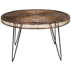 Small Round Wicker-Top Table, 1960s