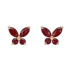 Small Ruby Butterfly Stud Earrings
