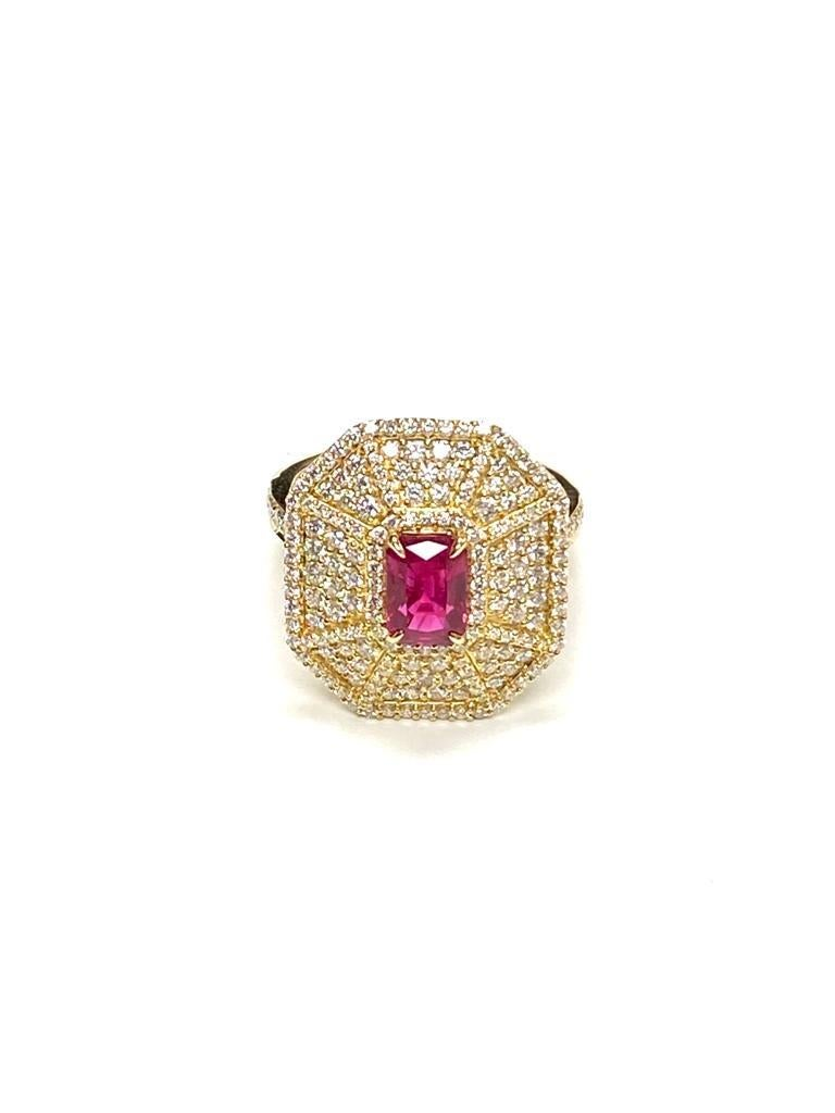Small Ruby Emerald Cut Web Ring with Diamonds in 18K Yellow Gold,  from 'G-One' Collection.  Stone Size: 7 x 5 mm  Diamonds: G-H / VS, Approx. Wt: 1.26 Carats