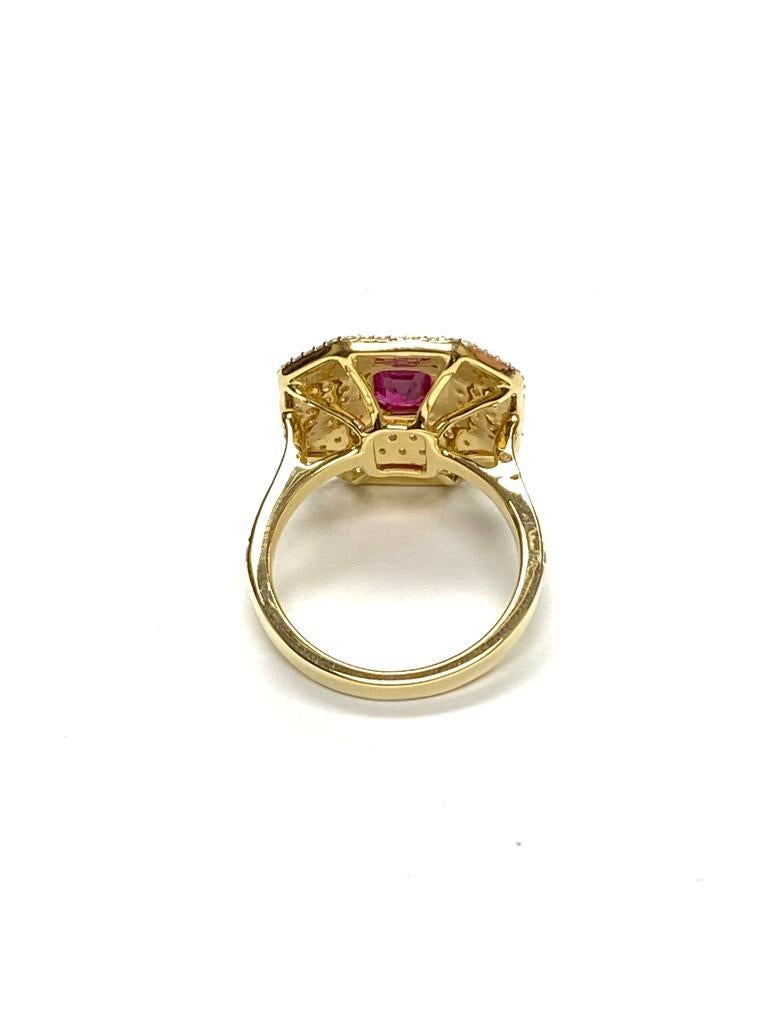 Contemporary Goshwara Emerald Cut Ruby And Diamond Ring For Sale