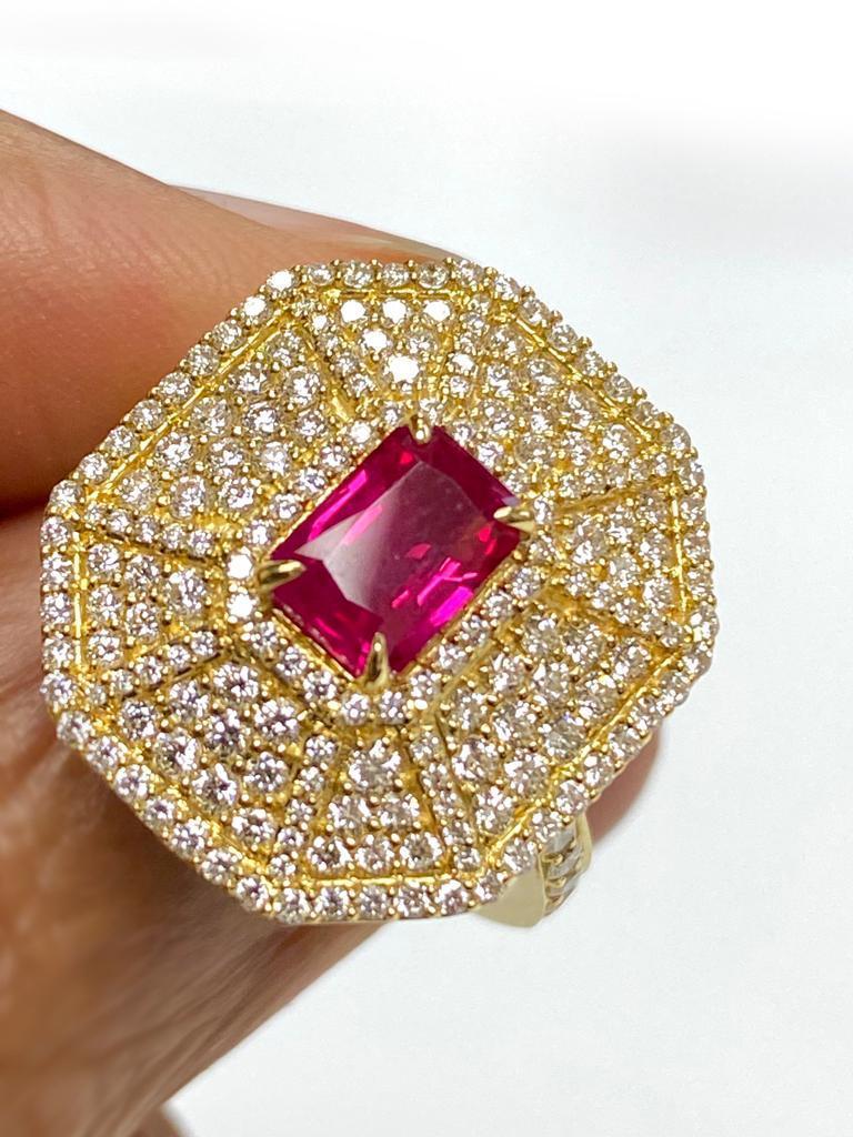 Women's Goshwara Emerald Cut Ruby And Diamond Ring For Sale