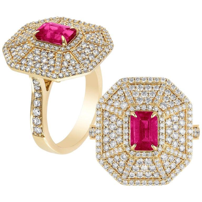 Goshwara Emerald Cut Ruby And Diamond Ring For Sale