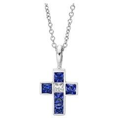 Small Sapphire and Diamond Cross Pendant