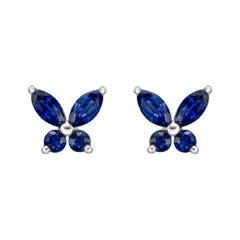 Small Sapphire Butterfly Stud Earrings