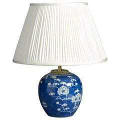 Small Scale 19th Century Blue and White Porcelain Vase Lamp