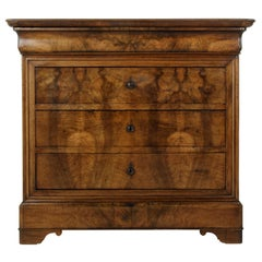 Small Scale 19th Century French Louis Philippe Period Walnut Commode or Chest