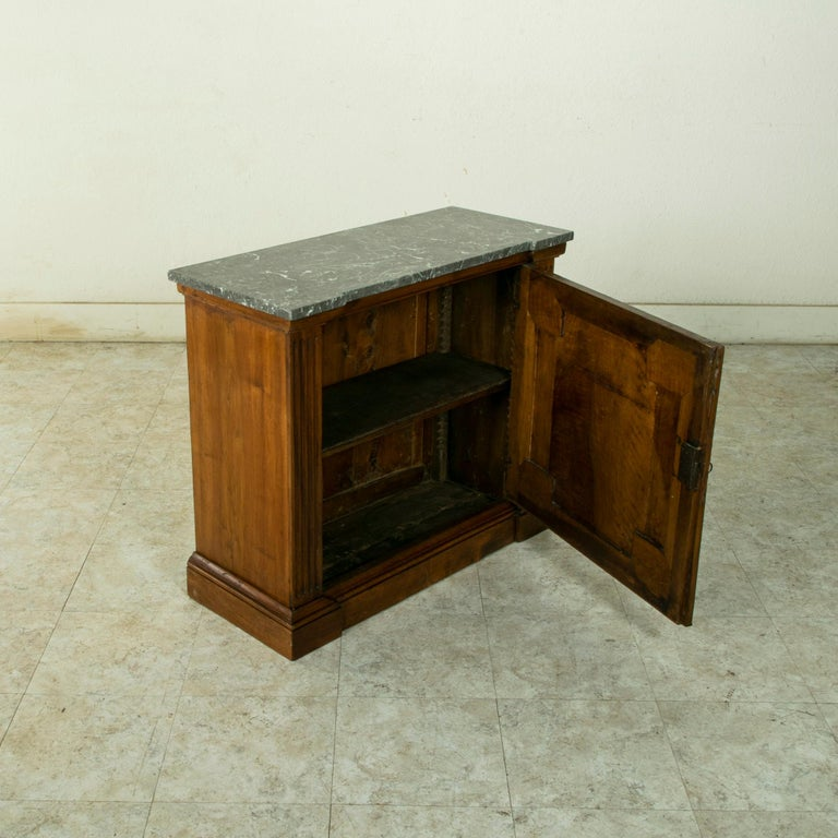 Small Scale 19th Century French Walnut Cabinet with Marble Top For Sale 7