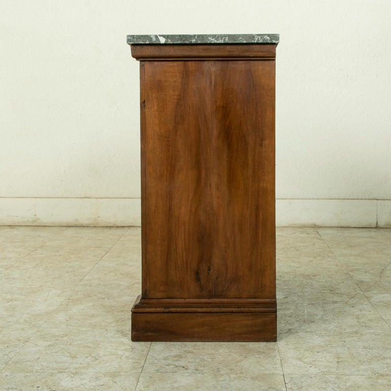 Small Scale 19th Century French Walnut Cabinet with Marble Top For Sale 1