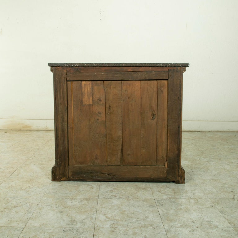 Small Scale 19th Century French Walnut Cabinet with Marble Top For Sale 2