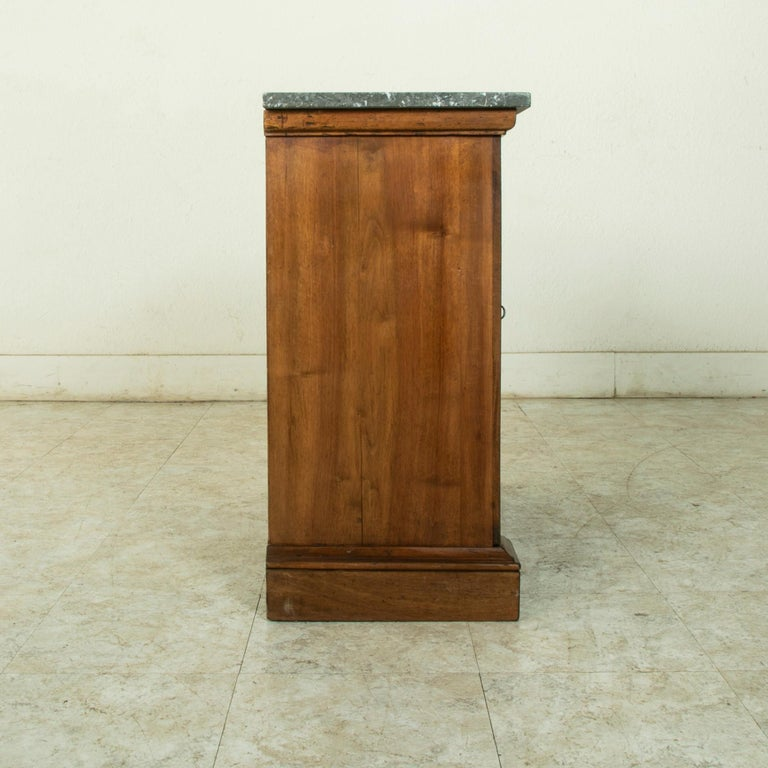 Small Scale 19th Century French Walnut Cabinet with Marble Top For Sale 3
