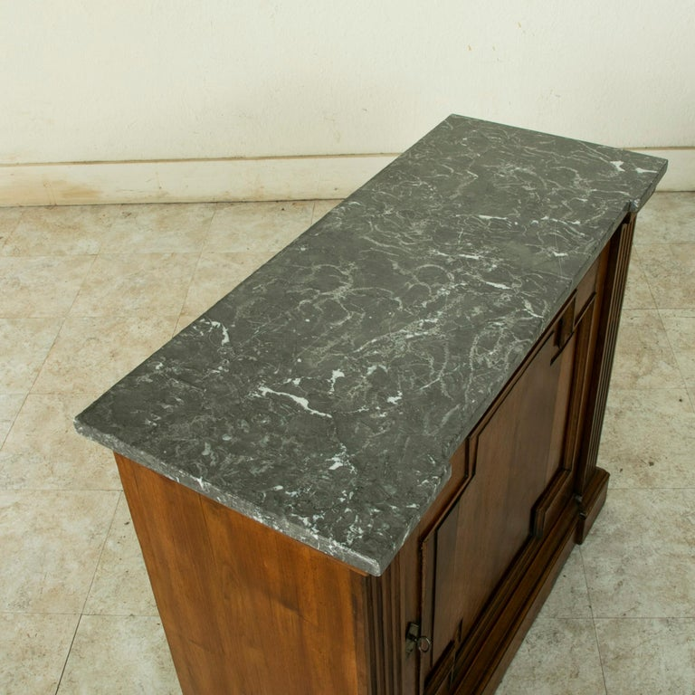 Small Scale 19th Century French Walnut Cabinet with Marble Top For Sale 4