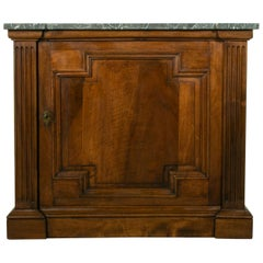 Small Scale 19th Century French Walnut Cabinet with Marble Top