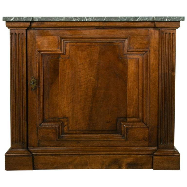 Small Scale 19th Century French Walnut Cabinet with Marble Top For Sale