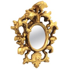 Small Scale Baroque Style Giltwood Mirror