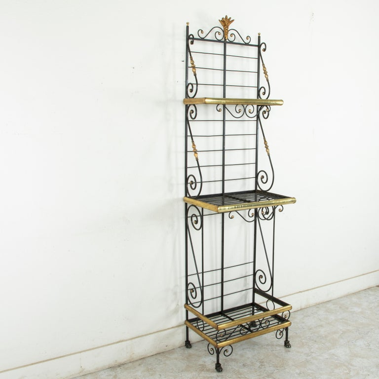 Small Scale Early 20th Century French Iron and Brass Baker's Rack or Shelves For Sale 1