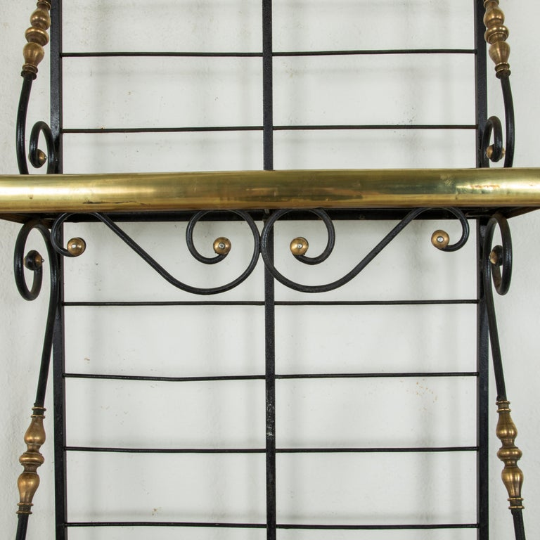 Small Scale Early 20th Century French Iron and Brass Baker's Rack or Shelves For Sale 3