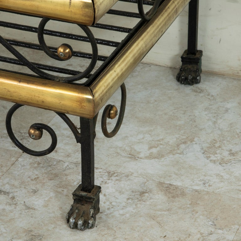 Small Scale Early 20th Century French Iron and Brass Baker's Rack or Shelves For Sale 4