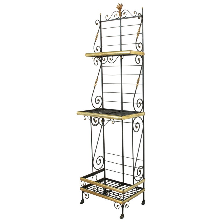 Small Scale Early 20th Century French Iron and Brass Baker's Rack or Shelves For Sale