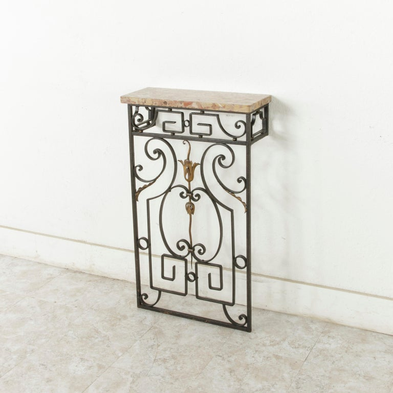 Small Scale Early 20th Century French Iron Console Table with Marble Top In Good Condition For Sale In Fayetteville, AR