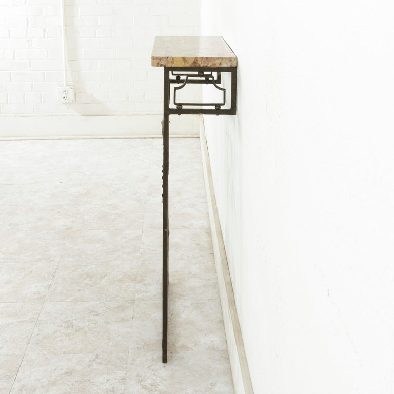 Small Scale Early 20th Century French Iron Console Table with Marble Top For Sale 1