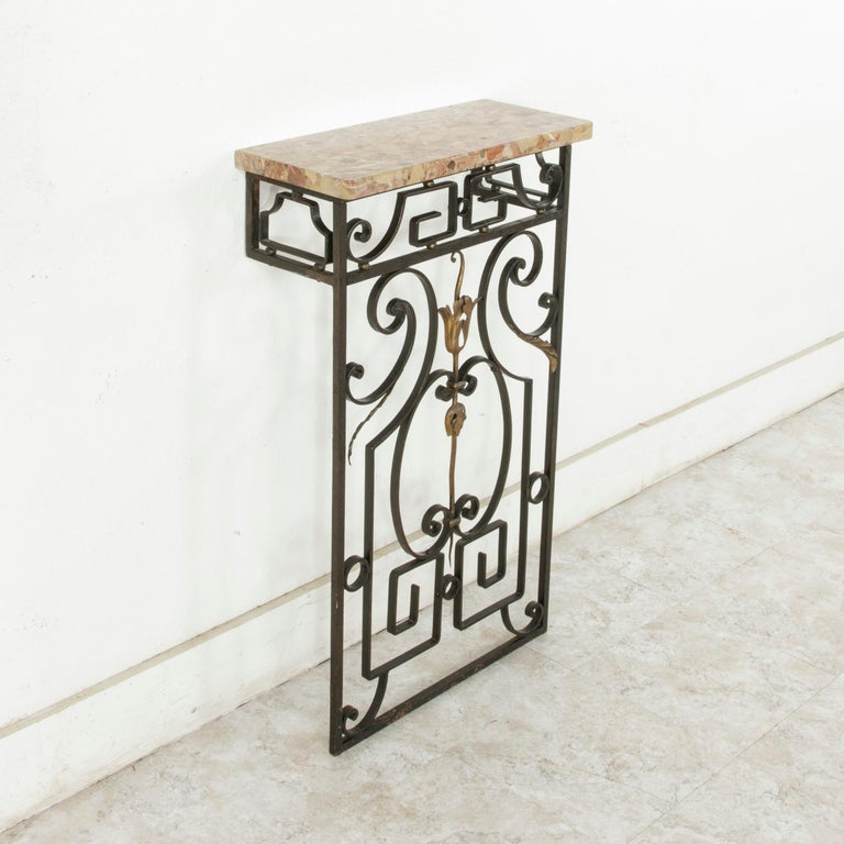 Small Scale Early 20th Century French Iron Console Table with Marble Top For Sale 2