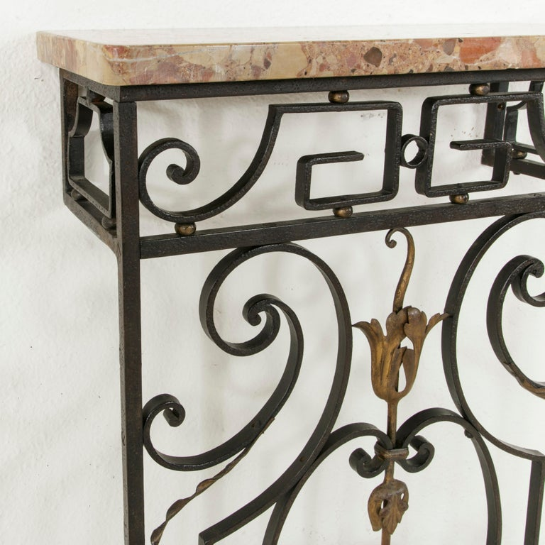 Small Scale Early 20th Century French Iron Console Table with Marble Top For Sale 3
