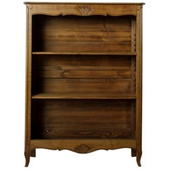 Small Scale Early 20th Century French Louis XV Elm Bookshelf, Adjustable Shelves