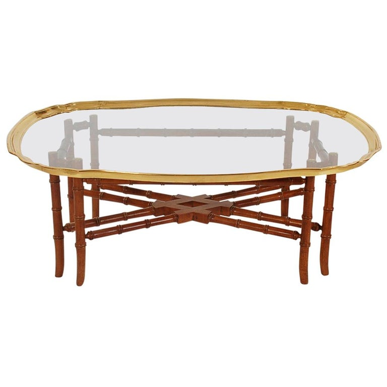 Wondrous Small Scale Hollywood Regency Faux Bamboo Wood Brass Tray Cocktail Table Machost Co Dining Chair Design Ideas Machostcouk