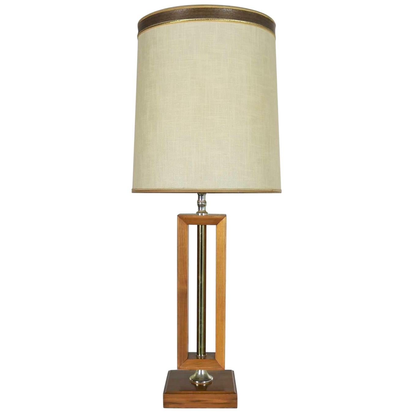 Small Scale Mid-Century Modern Walnut and Brass Lamp Style of Laurel Lamp Mfg