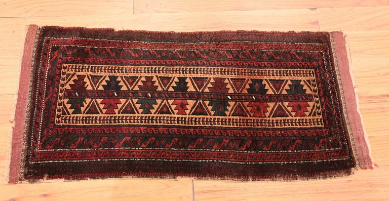 Hand-Knotted Small Scatter Size Antique Persian Baluch Rug For Sale