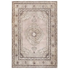 Small Scatter Size Antique Persian Tabriz Rug. Size: 4 ft x 6 ft